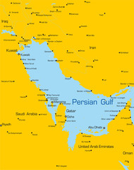 color map of Persian gulf countries