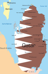 map of Qatar country colored by national flag