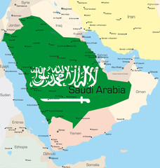 map of Saudi Arabia country colored by national flag.