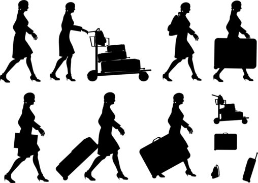 Female Traveller Silhouettes