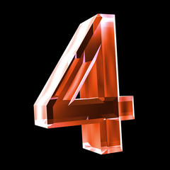 3d number 4 in red glass