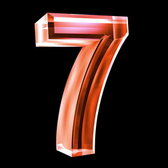 3d number 7 in red glass