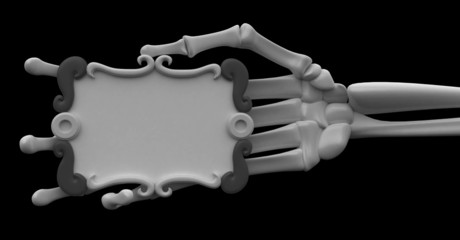 Skeleton Arm, Grey Scroll Sign