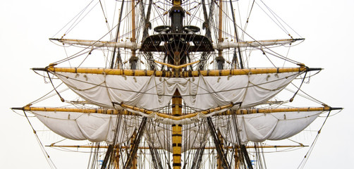 kogg masts with ropes and sails