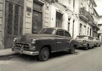 Garden Poster Cars from Cuba Old American cars in Havana Cuba