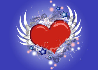 Lovely Valentine heart with wings flying