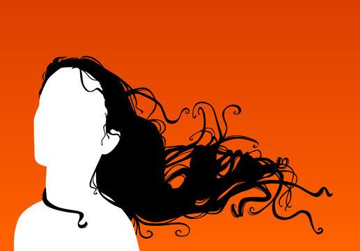 femme cheveux au vent