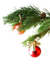 Christmas tree ornaments, white background,two colour balls