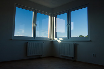 A view of large double windows.