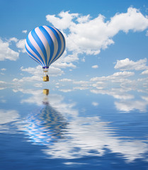 Blue-white Hot Air Balloon in the sky