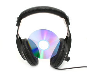 headphones and disc isolated on white