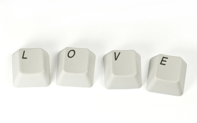Computer keys with love word.