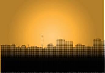 Silhouette Berlins in Rasteroptik