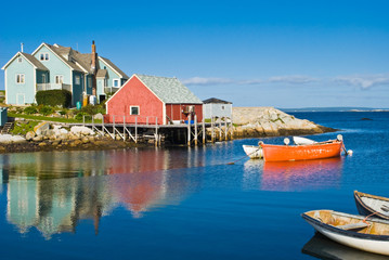 Poster Canada Fisherman's house and boats in a bay. Peggy's cove, Canada.