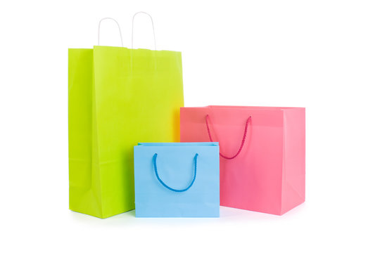 Set of various shopping bags isolated on white.