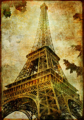 Fotomurales - Eiffel tower - vintage card