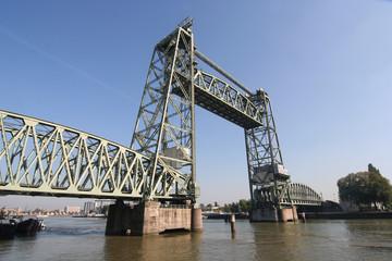 Monumental Koningshaven Railway Bridge (de Hef) in Rotterdam