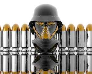 3d soldiers in a gas mask with silver bullets