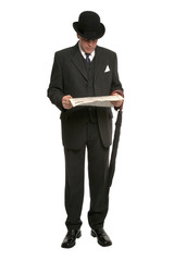 Businessman in pinstripe suit  bowler hat with umbrella