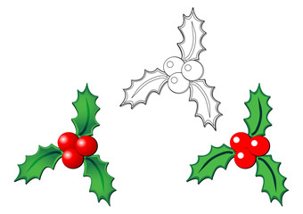 Christmas holly with and without gradient and only with stroke