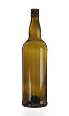 Empty bottle worth on a white background
