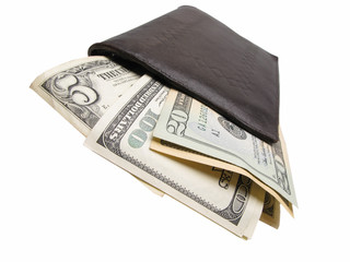 Dollars in billfold, closeup