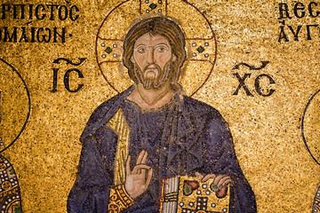 Mosaic Jesus Christ figure in Hagia Sophia, Istanbul, Turkey