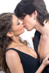 close-up of a young passionate kissing couple