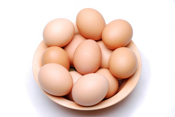 Bowl of a dozen fresh free range eggs