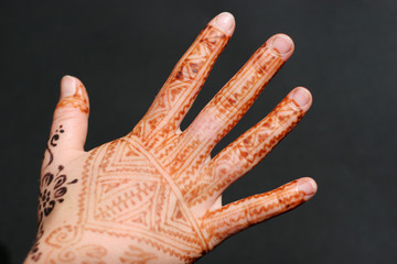A hand painted with Henna