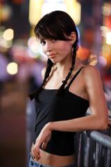 Beautiful girl posing in New York City. Shallow DOF.