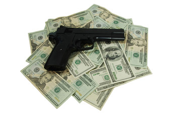 Money and black hand gun used for target practice