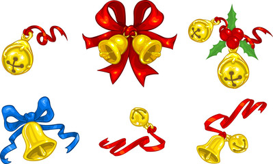Christmas bells and jingle bells with ribbons and bows