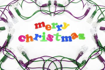 Christmas Greetings with Decorative Light Bulbs