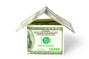 real estate concept. house from money (dollars)