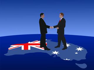 Australian business men meeting with handshake