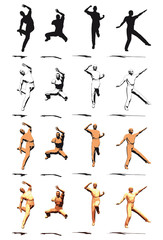 Dancer Jump silhouette various poses - VECTOR