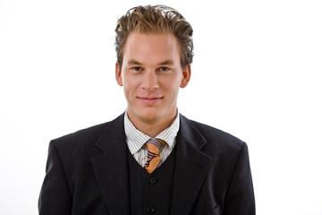 Portrait of successful businessman, white background.