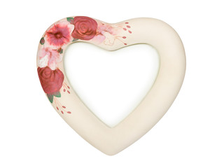 Heart shaped frame with flowers, isolated on white background