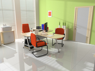 Modern interior with furniture for office
