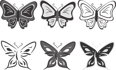 Collection of butterflies in black-and-white tones
