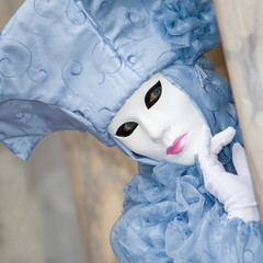 Turquoise costume at the Venice Carnival