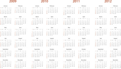 Simple calendar for 2009, 2010, 2011 and 2012.