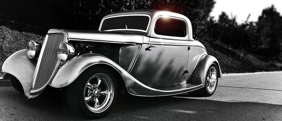 Aluminium Prints Old cars hotrod