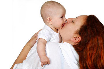 An image of baby and happy mother