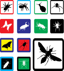 Set buttons. Insects
