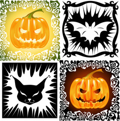 Pumpkins, cat and bat, are illustration to Halloween