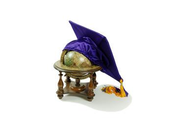 Graduation mortar board with globe