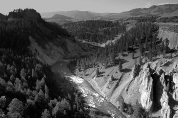 Aerial view of Yellowstone National Park in black and white