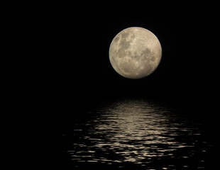 full moon with reflection in water surface